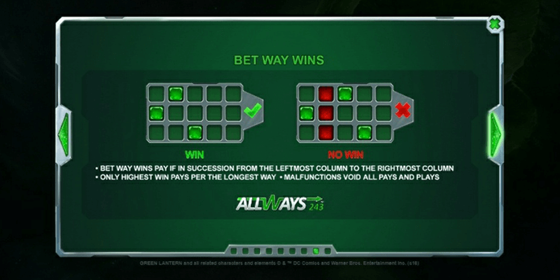 The Playtech slot Green Lantern features a 243 paylines
