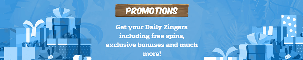 Many daily deals and ongoing promotions at Zinger Spins Casino